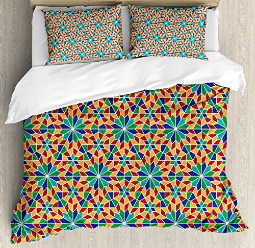 Arabian Duvet Cover Set by Ambesonne, Islamic Mosaic Floral Patterns with Geometrical Shapes Old Ethnic Oriental Motifs, 3 Piece Bedding Set with Pillow Shams, King Size, Multicolor by Ambesonne