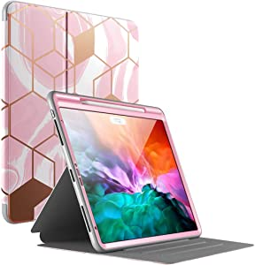 Popshine Marble Series Designed for Apple iPad Pro 12.9 2020 & 2018 Case, Full Body Premium 360 Degree Protective Folio Cover with Built-in Screen Protector, Liquid Marble Pink