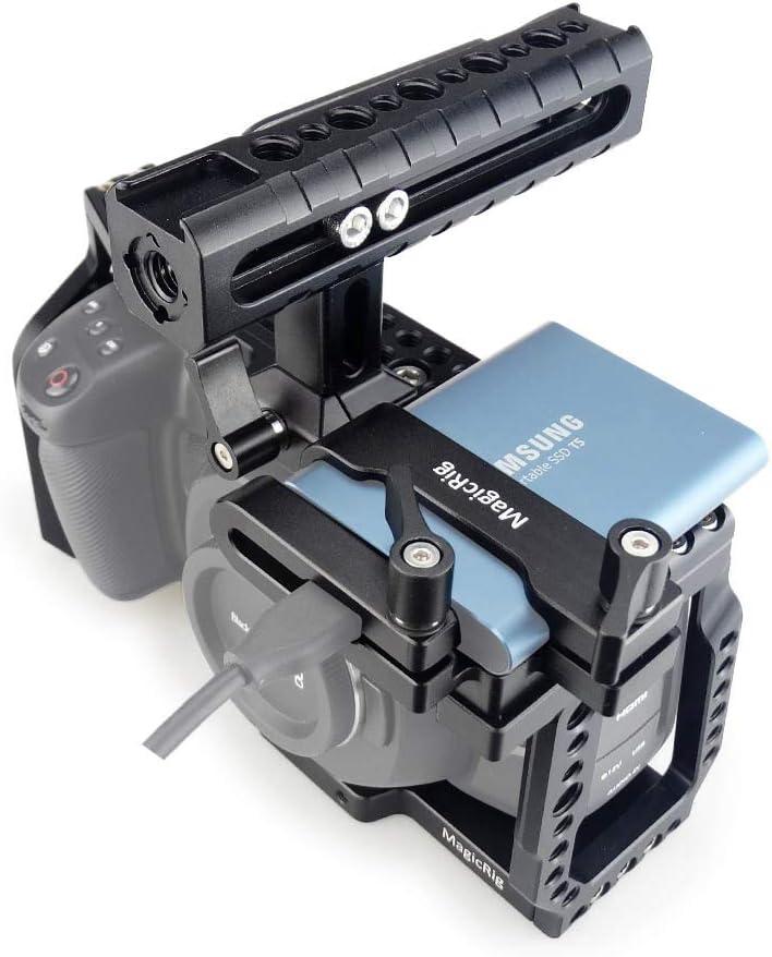 Amazon Com Magicrig Bmpcc 4k 6k Cage With Nato Handle T5 Ssd Card Mount Clamp For Blackmagic Pocket Cinema Camera Bmpcc 4k 6k Camera Photo