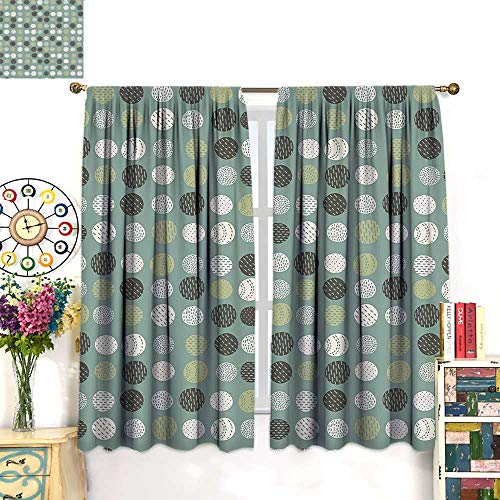 (Rod Pocket Insulated Curtains Sleep Well Blackout Curtain for Living Room/Bedroom Vintage 60S Home Inspired Circl Sage Green Olive Green and White 63