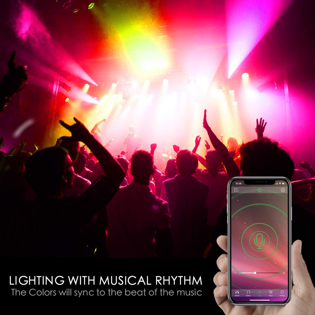 Dimmable Multi-Color 60 Watt Equivalent Sync to Music iLC Colour Changing LED Light Bulb E27 8W RGBW Controlled by APP