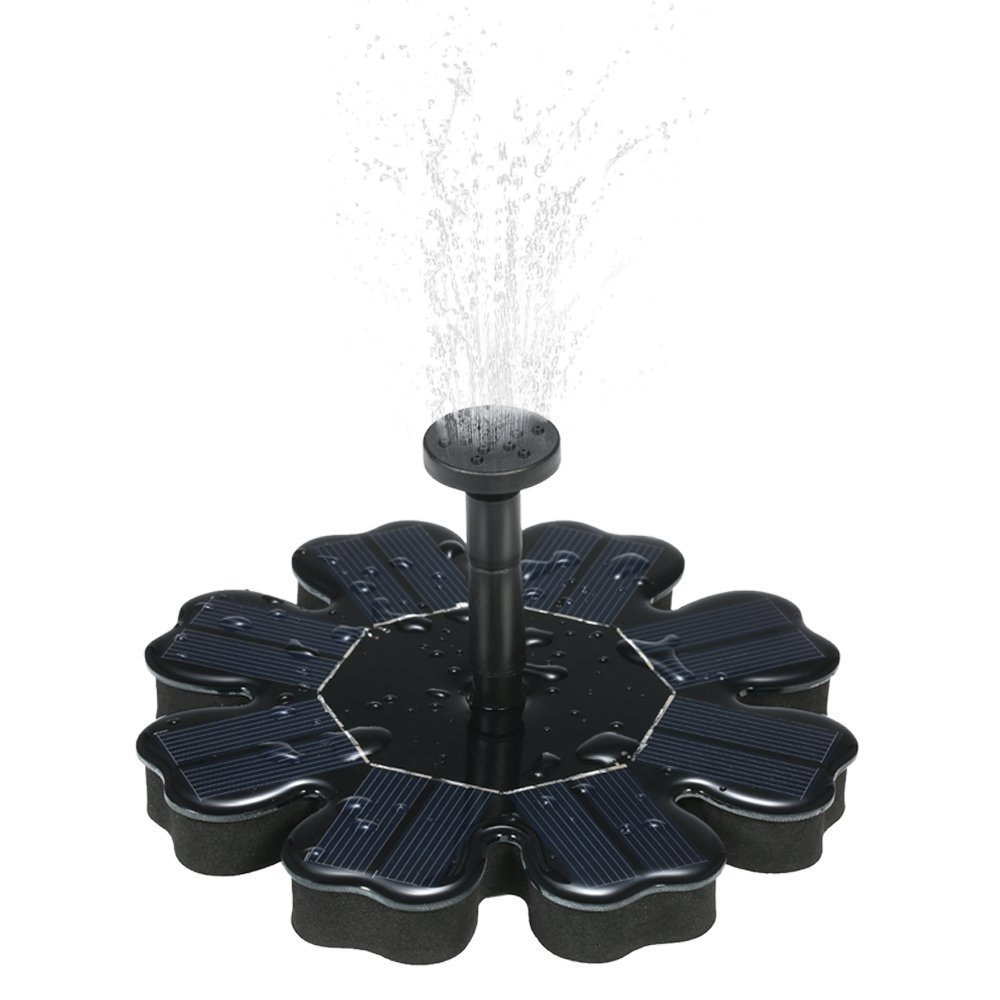 JPLSK Solar Fountain, 1.6W Solar Powered Bird Bath Small Water Pump for Pedestal Bird Bath/Outdoor Garden Pond/Swimming Pool, 4 Nozzles Included