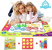 COOLJOY Water Magic Drawing Mat, Drawing Painting Doodle Mat With 5 Water Pen & 6 Stamps & a Doodle Water Book--Ideal Educational Toy &Birthday Gift for Kids