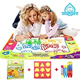 COOLJOY Water Magic Drawing Mat, Drawing Painting Doodle Mat With 5 Water Pen & 6 Stamps & a Doodle Water...