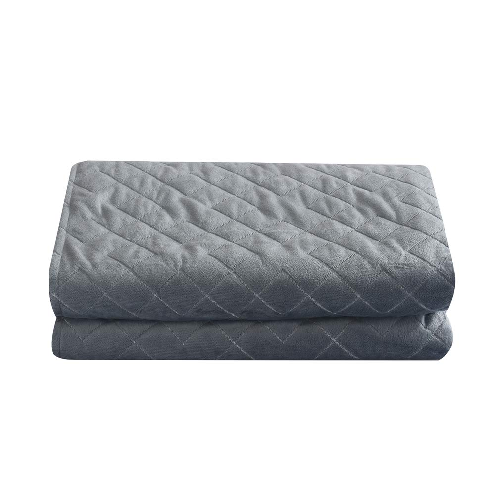 48x72 WUCHT Removable Weighted Blanket Cover Ultra Soft Minky Quilted Duvet Cover Grey