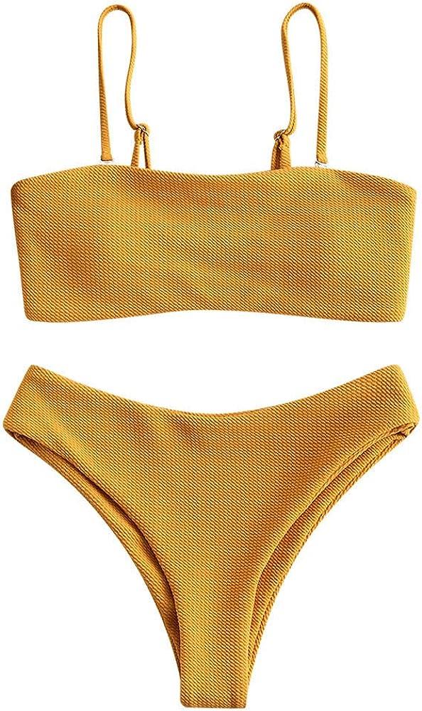 Bandeau Swimsuit Womens Bathing Suit Swimwear Flower Tankini Beachwear Padded