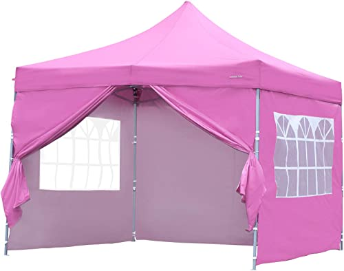 PUPZO Pop-Up Canopy Tent Gazebo 10×10 Portable Adjustable Carrying Bag Waterproof Party Camping Shelter Canopy Pink with 4 Sidewalls