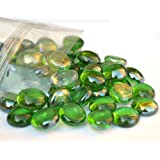 100 Approx. Green Round Decorative Glass Pebbles / Stones / Beads / Nuggets by The Glass Pebble Shop