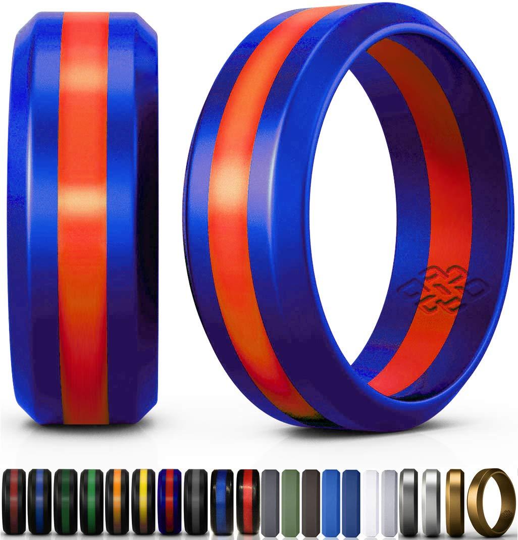【あすつく】 (ノットセオリー) Knot Bandwidth)|Blue Theory シリコン製結婚指輪 シルバー 高品質/ゴールド/グレー/ブルー メンズ B074C6X2KB レディース 受賞歴のあるデザイナーが手がけた薄型の指輪 高品質 おしゃれ 安全 快適 旅行/仕事/エクササイズに最適 B074C6X2KB Blue/ Red Line Size 9 (8mm WIDER Bandwidth) Size 9 (8mm WIDER Bandwidth)|Blue/ Red Line, 藤津郡:a1deda35 --- ciadaterra.com