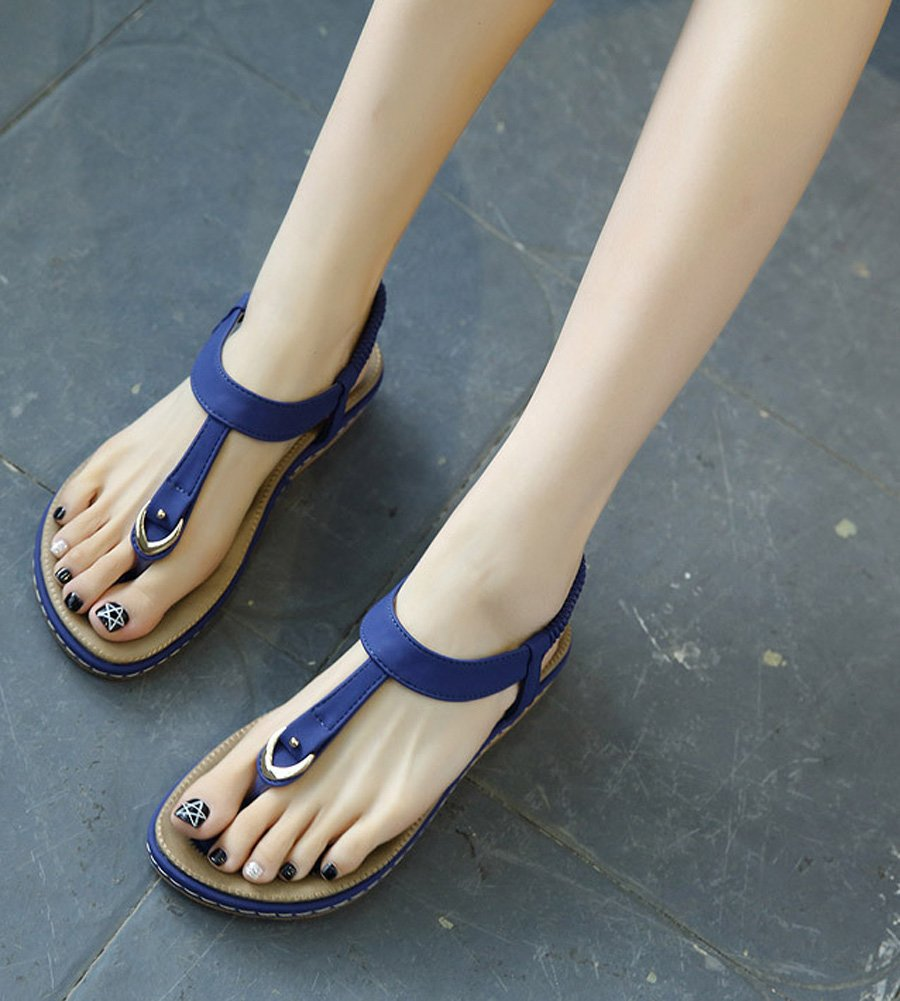 Maybest Ladies Style Flat Sandals- Women Summer Roman Sandals Comfy Shoes Blue US 7 by Maybest (Image #4)