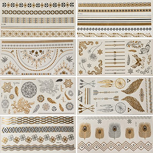 GSN Temporary Tattoos Metallic Tattoos 8 Sheets Gold And Silver Glitter 100+ Color Flash Fake Waterproof Tattoo Stickers Stencil For Adults or Kids