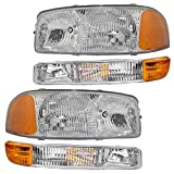 99 gmc sierra 2500 headlights - 4-Piece Set Headlights & Signal Marker Lamps Replacement for GMC Pickup Truck SUV 15199560 15199561 15850351 15850352