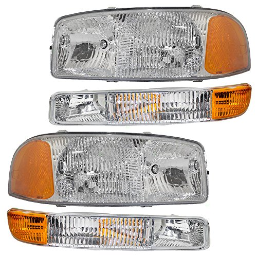 (4-Piece Set Headlights & Signal Marker Lamps for 99-07 GMC Sierra Pickup Truck & 00-06 Yukon/XL Replaces 15199560 15199561 15850351)