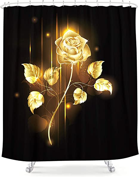 lightinhome black and golden rose shower curtain gold sparkle flower romantic floral nature plants fabric waterproof home bathtub decor 12 pack