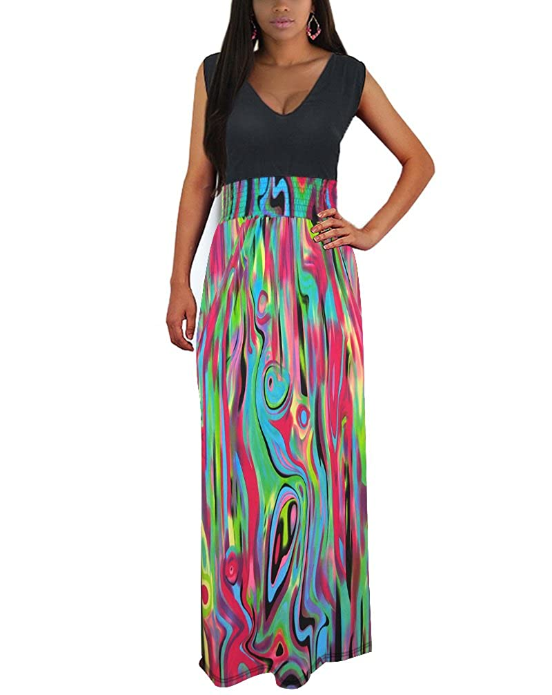 e4244c3bda90 Stripe printed, sleeveless, a line design,make you look slim and  chic;halter neck design,extremely sexy. Chiffon material,breathable and  lightweight,no more ...