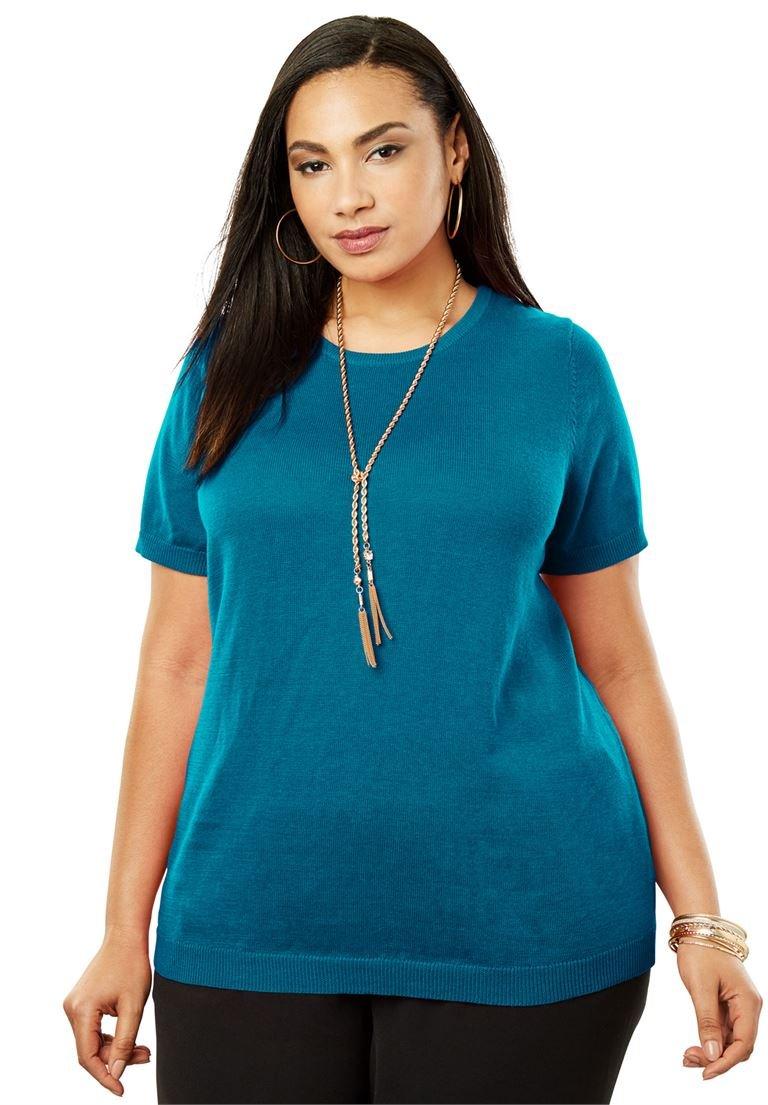 Jessica London Women's Plus Size Fine Gauge Crewneck Shell Sea Blue,18/20
