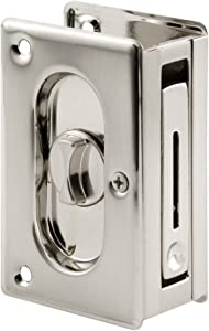 Prime-Line N 7367 Pocket Door Privacy Lock with Pull - Replace Old or Damaged Pocket Door Locks Quickly and Easily – Satin Nickel, 3-3/4""