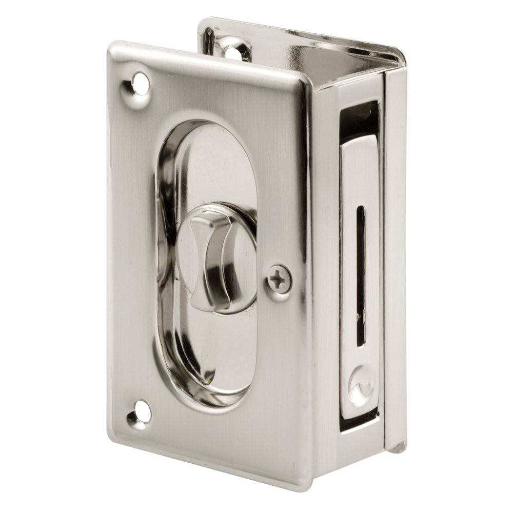 pocket door privacy lock. Prime-Line N 7367 Pocket Door Privacy Lock With Pull - Replace Old Or Damaged Locks Quickly And Easily Satin Nickel, 3-3/4\ I