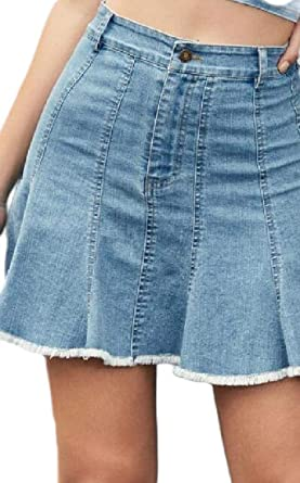 Falda de Seguridad para Mujer, Estilo Vaquero de Tiro Alto, Sexy ...