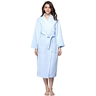 ed7f11c22a BabYoung Women Waffle Bathrobes 100% Cotton Long Sleeve Plus Size Robes  Women Nightgown Hotel Sleepwear