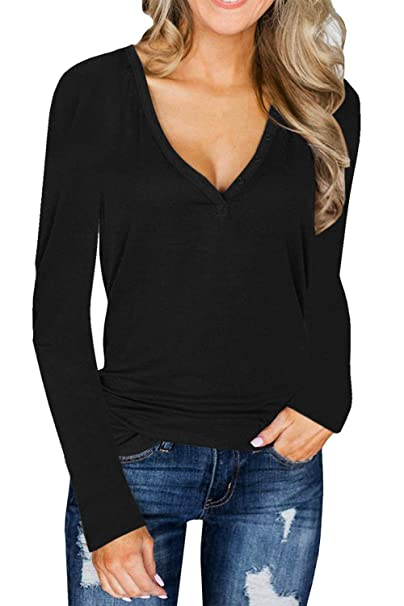 fa6d0a41a07 L'ASHER Women's Deep V Neck Long Sleeve Henley Shirts Button Knit Sweater Top  Blouse Tee at Amazon Women's Clothing store: