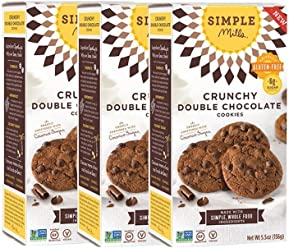 Simple Mills Crunchy Cookies, Double Chocolate, Naturally Gluten Free, 5.5 oz, 3 count