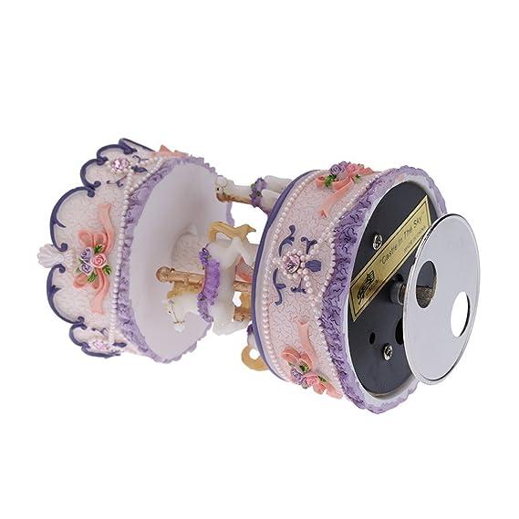Andoer® laxury aufziehbare 3 caballos karusselle parte Reloj creativo artware/regalo Melodía Castillo en el cielo color rosa/morado/azul/Golden pantalla ...