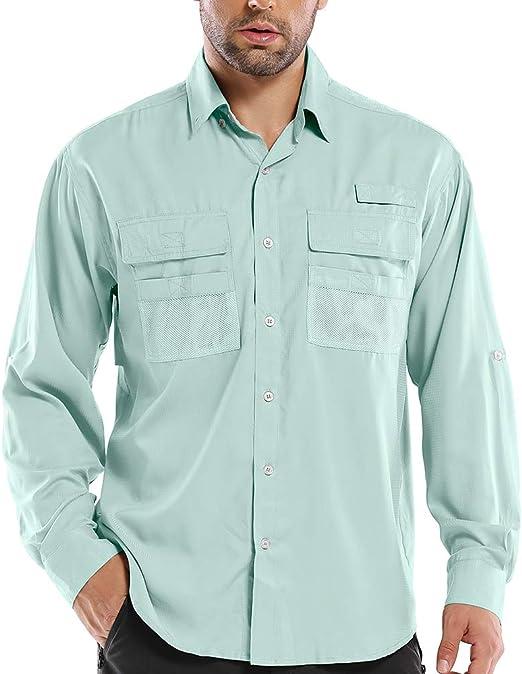 Men/'s UPF Long Sleeve Shirt UV Sun Protection Hiking Fishing Safari Quick Dry Cool Utility