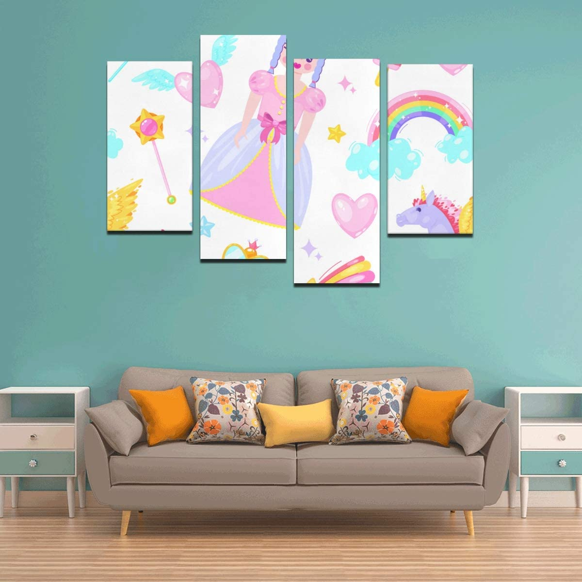Amazon Com Bluehui 4 Pieces Walls Decor Magic Wand Girl Fantasy Home Wall Paint No Frame Living Room Office Hotel Home Decor Gift Posters Prints