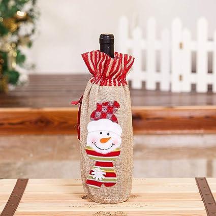 Navidad Champán Vino Tinto Decoración Bolsa Restaurante De Navidad Vajilla Fiesta Decoraciones -G.TZ