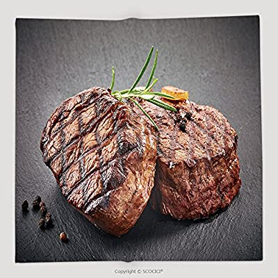 Custom Grilled Beef Steaks With Spices On Black Stone Cutting Board 439021414 Soft Fleece Throw Blanket
