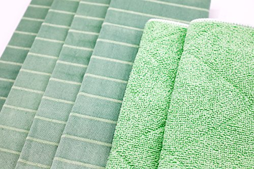 Angelgear Bamboo Microfiber Kitchen Dish Towels, Super Absorbent, Anti-Bacterial, Large 24'' x 16'' Inch 6 Pack Set!, Eco-Friendly, Quick Drying, All Purpose Household Cleaning, NO Lint, NO Streaks by Angelgear (Image #8)