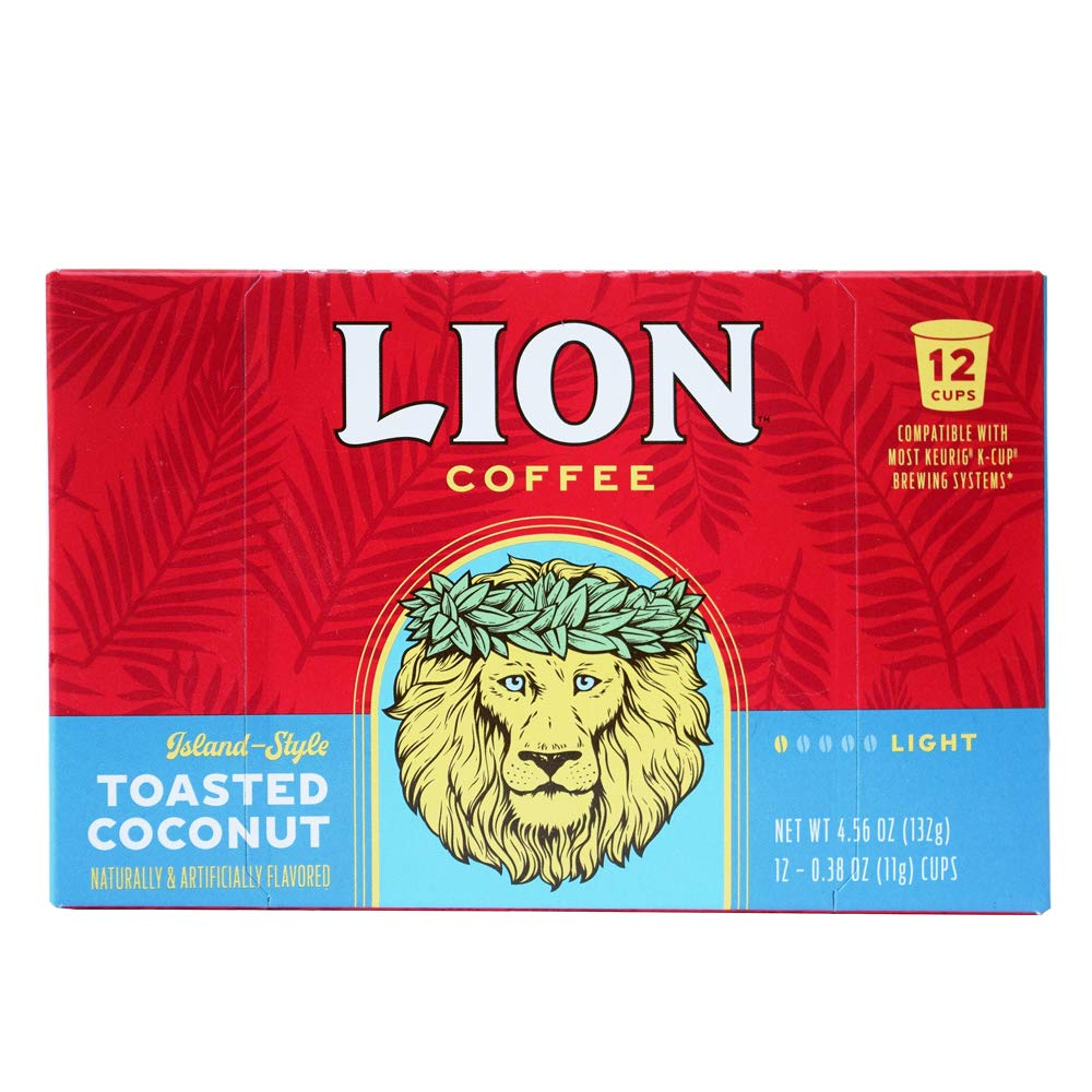 Lion Coffee Toasted Coconut Flavor, Single-Serve Coffee Pods - 12 Count Box