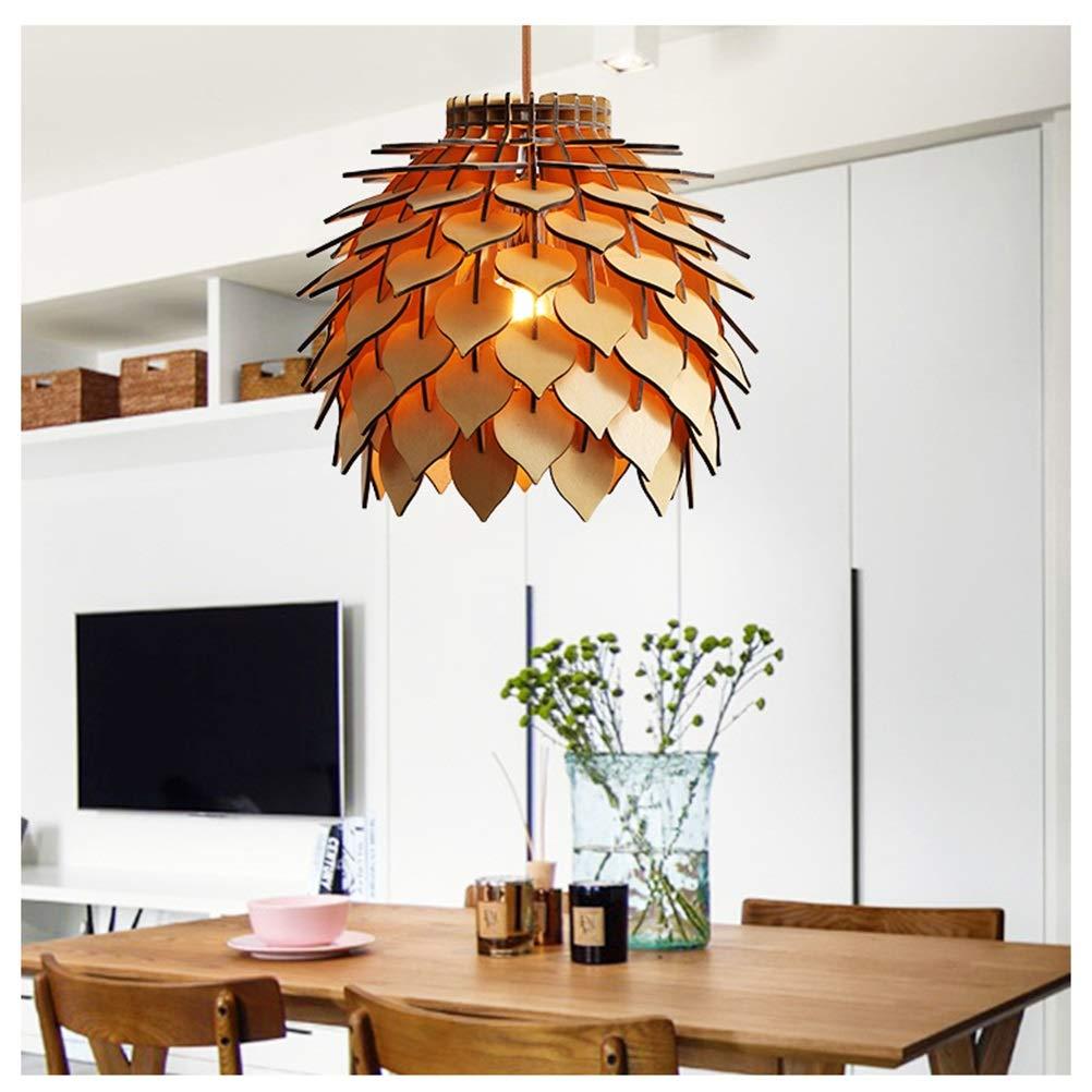 GG_L 現代のミニマリスト木製ランプポストモダンパーソナリティクリエイティブバーランプレストラン寝室ウッドパインコーンシャンデリア   B07TQ83QLH
