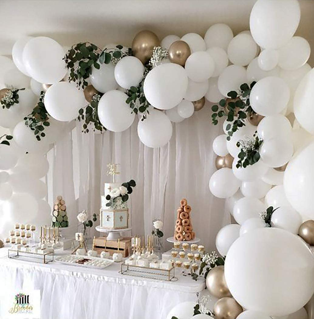 Amazon Com Beaumode White And Gold Balloon Garland Kit Balloons Arch Of 109pcs Assorted Latex Balloons For Baby Shower White Wedding Bachelorette Party Bridal Shower White Christmas Decoration Backdrop Party Supplies Toys