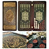 "21"" Backgammon Board Game Set Eagle, Wood & Crocodile Leather, Pieces & Dices"