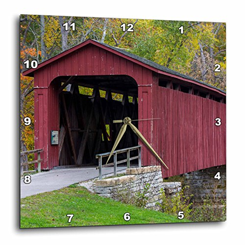 Danita Delimont - Bridges - Covered Bridge over Mill Creek, Indiana, USA - 15x15 Wall Clock (dpp_230790_3)