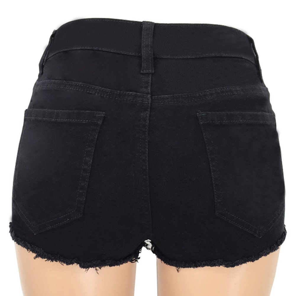 Skinny Shorts Para Mujeres Color Puro Personalidad Rotos ...