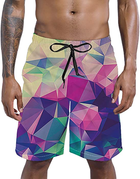 a406f0892795f RAISEVERN Swim Trunks Summer Beach Shorts Pockets Boardshorts for Men with Mesh  Lining