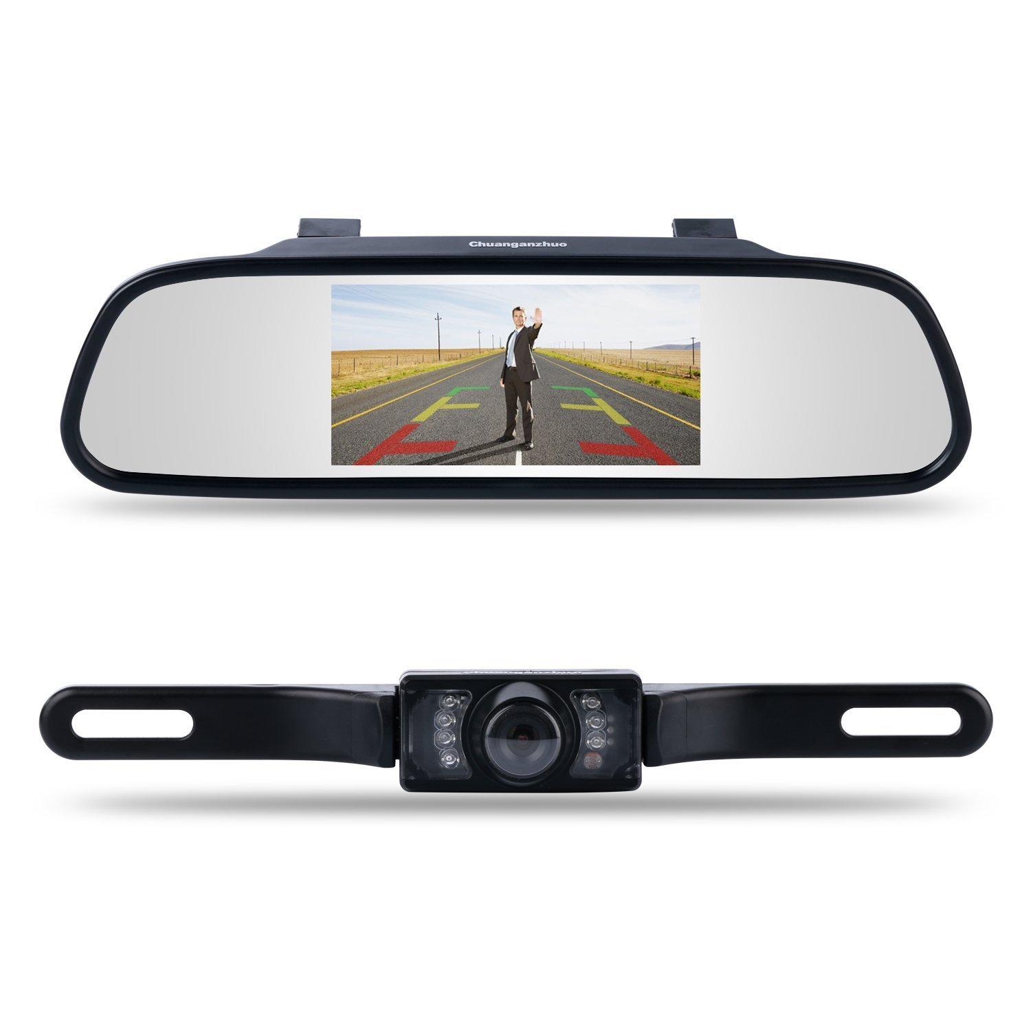 Backup Camera and Monitor Kit,Chuanganzhuo 4.3'' Car Vehicle Rearview Mirror Monitor for DVD/VCR/Car Reverse Camera + CMOS Rear-view License Plate Car Rear Backup Parking Camera With 7 LED Night Vision