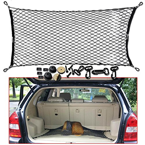 Zento Deals Universal Black Mesh Net Cargo Trunk Storage Organizer- 3 Mounting Types