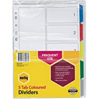Marbig 35010 Dividers PP A4 Coloured 5 Tab White