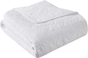 Madison Park Quebec Luxury Oversized Quilted Throw White 60x70 Premium Soft Cozy Microfiber With Cotton Fill For Bed, Couch or Sofa
