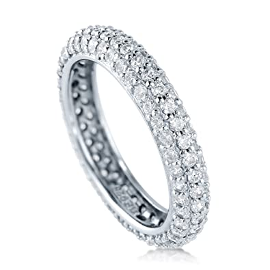 BERRICLE Rhodium Plated Sterling Silver Cubic Zirconia CZ Anniversary Eternity Band Ring 1w8R9lqE