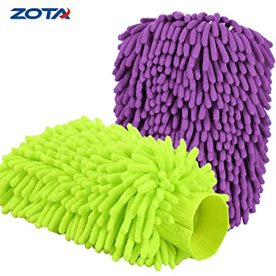 """ZOTA Car Wash Mitt, 2-Pack Extra Large Size Premium Chenille Microfiber Cleaning Mitts, XL-Size(12""""x8.5"""") Big Mofo Double Sided/High Density Scratch-Free Wash Glove: Automotive"""