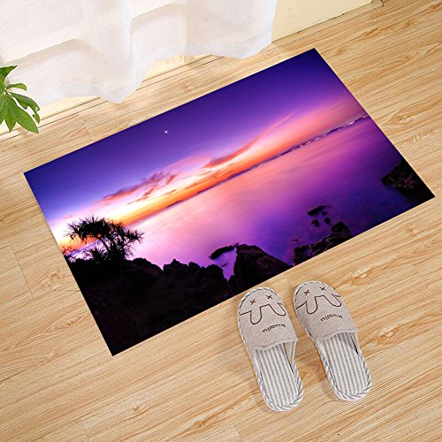 - JANNINSE Purple Cloud Sky Seaside Rock Large Door Mat, Door Mat Insole And Rubber Backing Door Mat Indoor And Outdoor Entrance Way Carpet For High Traffic Areas