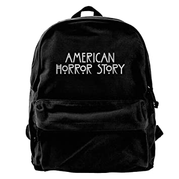 36904a0e21d8 American Horror Story Logo Print Canvas Backpack School Rucksack Travel  Backpack Laptop Backpack Black  Amazon.ca  Sports   Outdoors