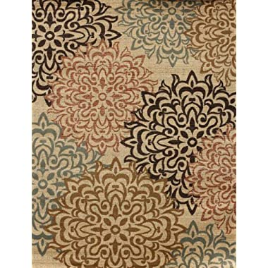 New City Contemporary Brown and Beige Modern Floral Flowers Area Rug, 5 feet by 8 feet