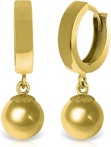 18K White Gold Dangle Ball Hoop Earring 2.50 Grams