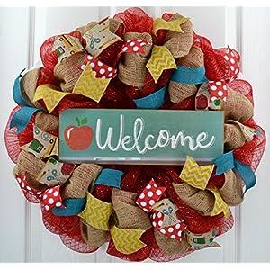 Back to School Teacher Gift | Classroom Decor | Present Outdoor Mesh Wreath | Red Burlap Yellow 14